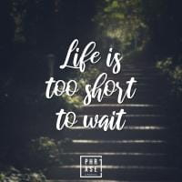 Life ist too short to wait | Emaille Becher