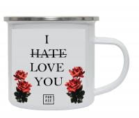 I hate love you | Emaille Becher
