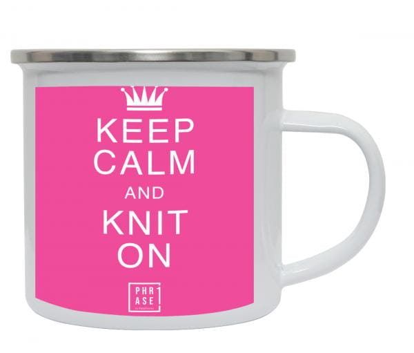 Keep calm and knit on | Emaille Becher